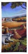 Rural Country Farm Life Landscape Folk Art Raccoon Squirrel Rustic Americana Scene  Bath Towel