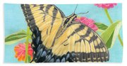 Swallowtail Butterfly And Zinnias Bath Towel