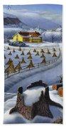 Folk Art Winter Landscape Bath Towel