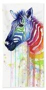 Rainbow Zebra - Ode To Fruit Stripes Bath Towel by Olga Shvartsur