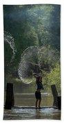 Asian Girl Playing Water In River Bath Towel