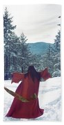 Asian Woman In Red Kimono Dancing On The Snow In The Forest Bath Towel