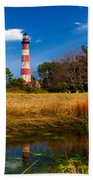 Assateague Lighthouse Reflection Bath Towel