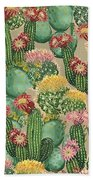 Assorted Blooming Cactus Plants Bath Towel