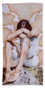 Athabaskan Girl On A Rock Bath Towel