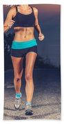Athletic Woman Jogging Outdoors Bath Towel