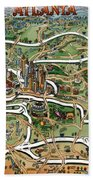 Atlanta Cartoon Map Bath Towel