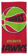 Atlanta Hawks Vintage Basketball Art Bath Towel