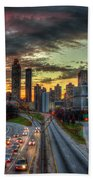 Atlanta Nite Lights Atlanta Downtown Cityscape Art Bath Towel