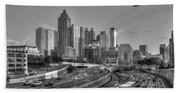 Atlanta Sunset Good Year Blimp Overhead Cityscape Art Hand Towel