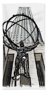 Atlas Sculpture Sketch In New York City Bath Towel