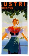 Austria, Young Woman In Traditional Dress Invites You, Danube River Bath Towel