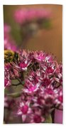 Autumn Bee On Flowers Bath Towel