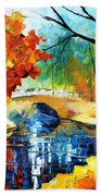 Autumn Calm 2 - Palette Knife Oil Painting On Canvas By Leonid Afremov Bath Towel