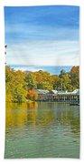 Autumn Central Park Lake And Boathouse Bath Towel