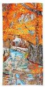 Autumn Deer Birch Background Bath Towel