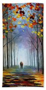 Autumn Fog 4 - Palette Knife Oil Painting On Canvas By Leonid Afremov Bath Towel