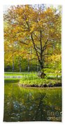 Autumn Landscape With Red Tree Bath Towel