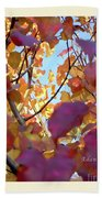 Autumn Leaves In Blue Sky Bath Towel