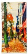 Autumn On The Streets Of Boston Bath Towel
