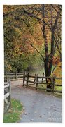 Autumn Path In Park In Maryland Hand Towel