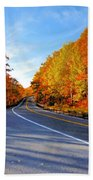 Autumn Scene With Road In Forest 2 Bath Towel