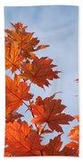 Autumn Tree Leaves Art Prints Blue Sky White Clouds Bath Towel