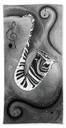 Piano Keys In A Saxophone B/w - Music In Motion Bath Towel