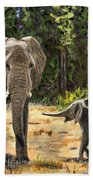 Baby And Mom Elephant Painting Hand Towel