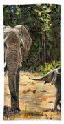Baby And Mom Elephant Painting Bath Towel