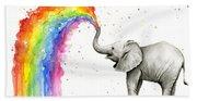 Baby Elephant Spraying Rainbow Bath Towel