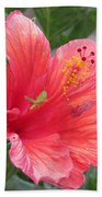 Baby Grasshopper On Hibiscus Flower Bath Towel