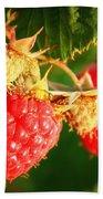 Backyard Garden Series - Two Ripe Raspberries Bath Towel