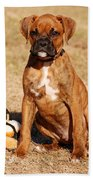 Bailey The Boxer Puppy Bath Towel