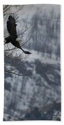 Bald Eagle In Flight-signed-#4014 Bath Towel