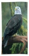 Bald Eagle In Pastel Bath Towel