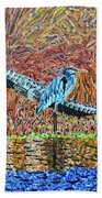 Bald Head Island, Gator, Blue Heron Hand Towel