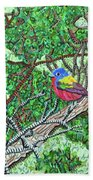 Bald Head Island, Painted Bunting At Defying Gravity Bath Towel