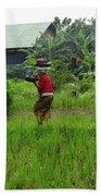 Balinese Lady Carrying Pot Bath Towel