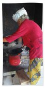 Balinese Lady Roasting Coffee Leans Again Wall Bath Towel
