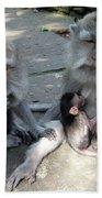 Balinese Monkey Family Hand Towel