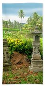 Balinese Rice Field Shrines Bath Towel