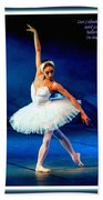 Ballerina On Stage L A With Decorative Ornate Printed Frame. Bath Towel
