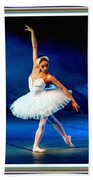 Ballerina On Stage L B With Alt. Decorative Ornate Printed Frame. Bath Towel