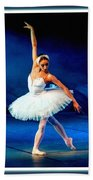 Ballerina On Stage L B With Decorative Ornate Printed Frame. Bath Towel