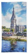 Ballina Cathedral On River Moy Bath Towel