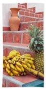 Bananas And Pineapple On Terracotta Steps Bath Towel