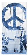 Banksy Soldiers-blue Bath Towel