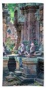 Banteay Srey Temple Pink Monkeys Bath Towel