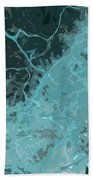 Barcelona Traffic Abstract Blue Map Bath Towel